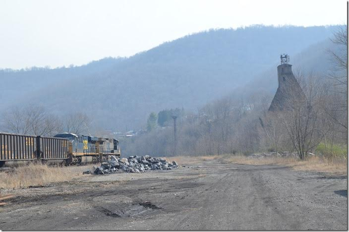 Not much left except the old coal dock and yard light towers. CSX 224-810. View 2. Hinton WV.
