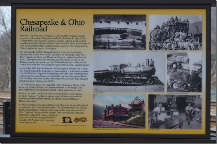 C&O historic marker. Hinton depot.