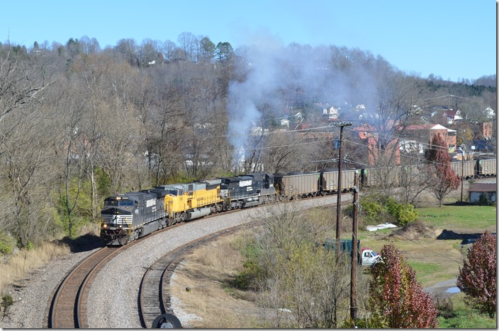 NS 9733-7289-8695 are s/b on the Kingsport SD at St. Paul with 778-17. This train loaded on the former Monongahela Ry. at Murray Energy's Monongalia County Mine (formerly Consol's Blacksville 2 mine). The 98 NDYX loads were destined for Duke Energy's Asheville Plant at Skyland NC. St Paul.