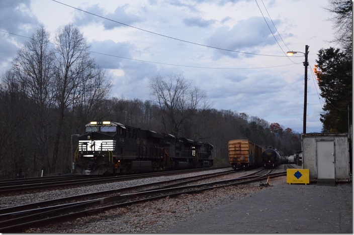 NS 8079-1039-8046. Frisco TN. It is getting dark by now. 72K-21's power is parked at Frisco.